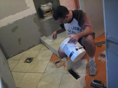 how to lay bathroom floor tile worked