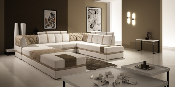 Ideas of living room with brown sofas for Living room sofa ideas