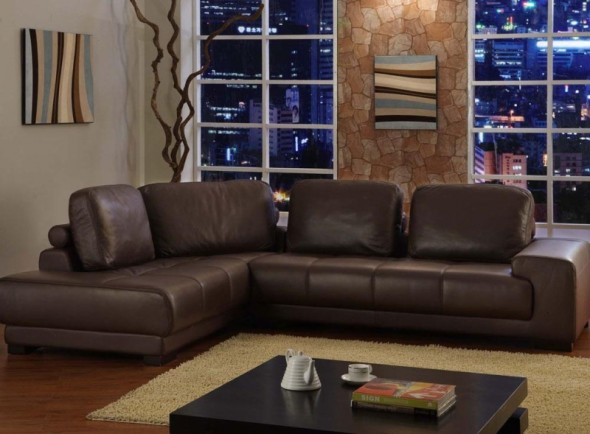 Ideas of living room with brown sofas for Brown living room furniture