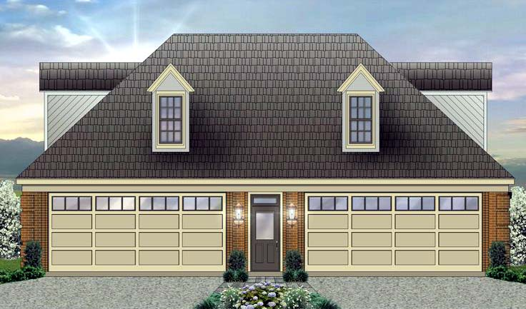 Four stall garage plan with apartment over garage 2369 for Homes with 4 car garages
