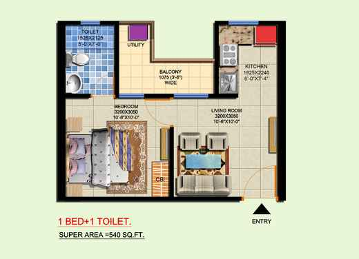 Furnished 3d Floor Plan Rendering Apartments