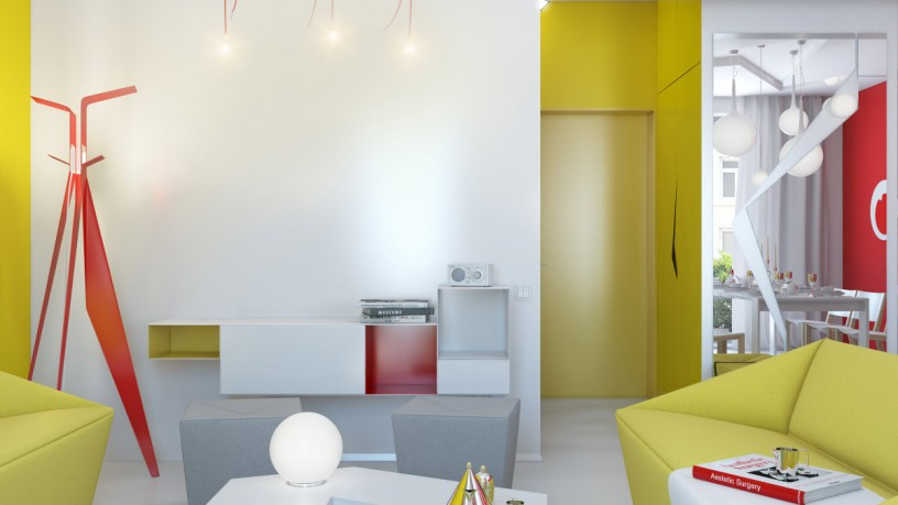 Small apartment interior decorating with colorful funky bright finish
