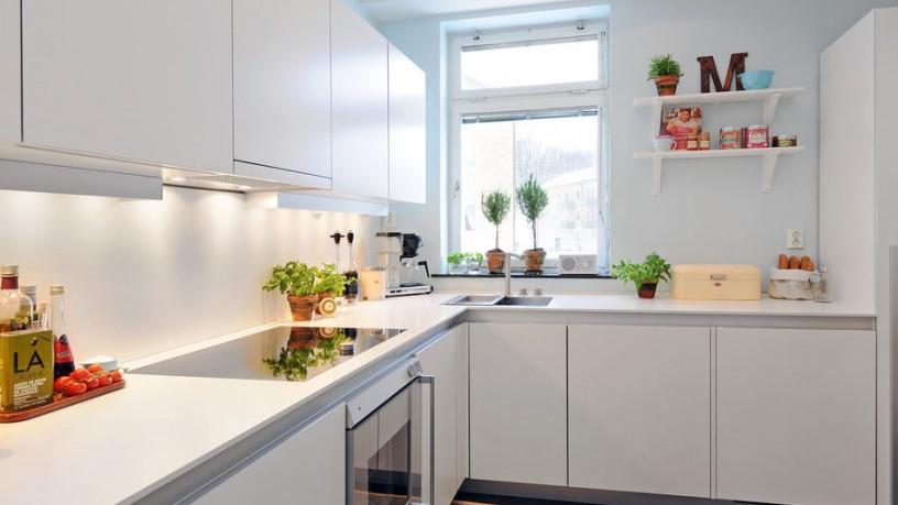Chic modern pure white kitchen interior