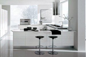 Modern white and chrome kitchen